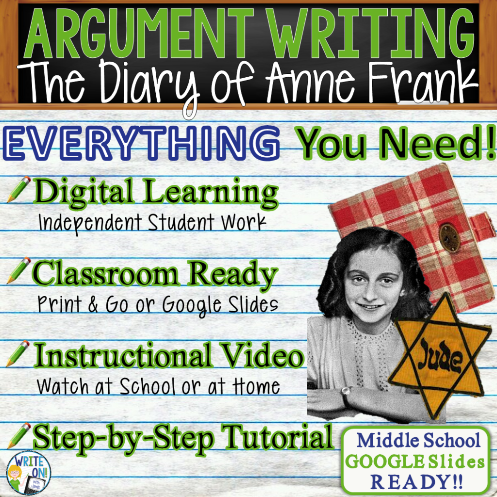 The Diary of Anne Frank; Anne Frank; distance learning; argumentative writing; text dependent analysis; tda; opinion; essay; 1