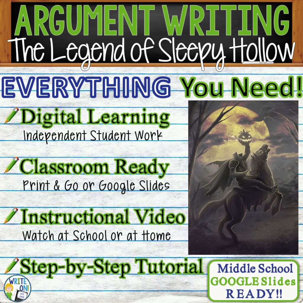 The Legend of Sleepy Hollow; Washington Irving; distance learning; argumentative writing; text dependent analysis; tda; opinion; essay; 1